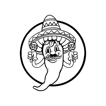 Cinco de mayo chili playing mara Silhouette illustrations for your work Logo, mascot merchandise t-shirt, stickers and Label designs, poster, greeting cards advertising business company or brands.