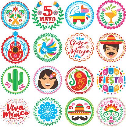 Cinco de Mayo - circle icons set