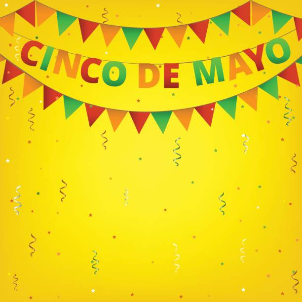 Cinco de Mayo colorful bunting Cinco de Mayo colorful bunting on yellow background cinco de mayo stock illustrations