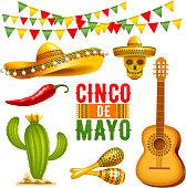 Cinco de Mayo design elements set.  Vector illustration.