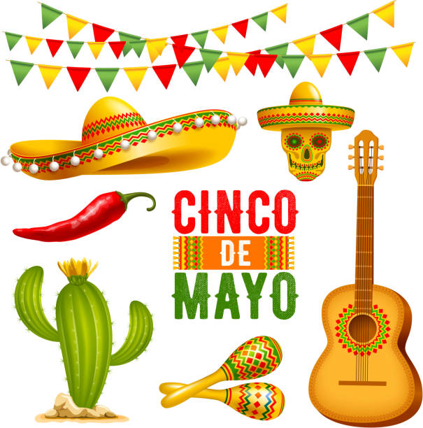 Cinco de Mayo design elements set Cinco de Mayo design elements set.  Vector illustration. cinco de mayo stock illustrations