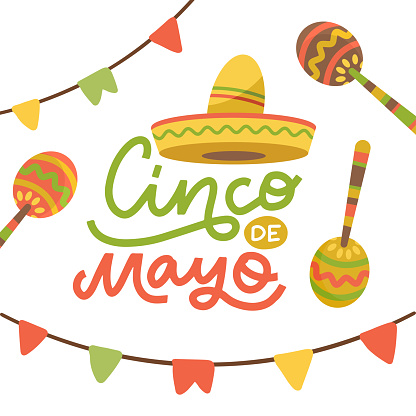 Cinco de Mayo emblem design with hand drawn calligraphy lettering, sombrero , flags and maracas - symbols of holiday. Isolated on white background. Vector flat hand drawn illustration.