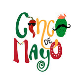 Cinco de mayo emblem design with hand drawn calligraphy lettering