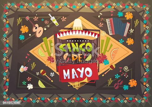 istock Cinco De Mayo Festival Background Mexican Holiday Greeting Card Background 944952696