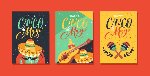 Cinco de Mayo Festival greeting cards design with guitar, sombrero, maracas, cactus, jalapeno, tequila and hand written text. Cinco de Mayo Festival greeting cards design with guitar, sombrero, maracas, cactus, jalapeno, tequila and hand written text. cinco de mayo stock illustrations