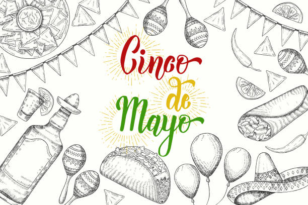 cinco de mayo festive background with  hand drawn symbols - flag garland, chili pepper, maracas, sombrero, nachos, tacos, burritos, tequila, balloons isolated on white. hand made lettering. sketch - cinco de may stock illustrations, clip art, cartoons, & icons