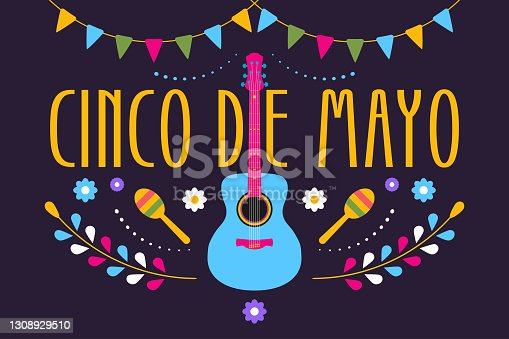istock Cinco de Mayo festive design for Mexican holiday. Colorful banner of 5 May in Mexico with guitar, flowers, maraca and flags. Vector 1308929510