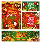 Cinco de Mayo Mexican holiday celebration calligraphy greetings. Vector Mexico flag balloons, Cinco de Mayo fiesta food, poncho, sombrero and maracas, tequila with avocado, pinata and quesadilla
