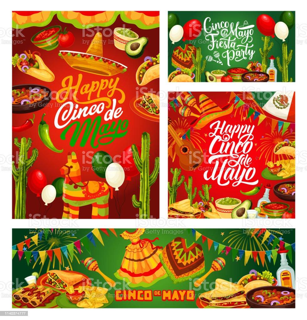 Cinco de Mayo Fiesta, Mexican holiday calligraphy vector art illustration