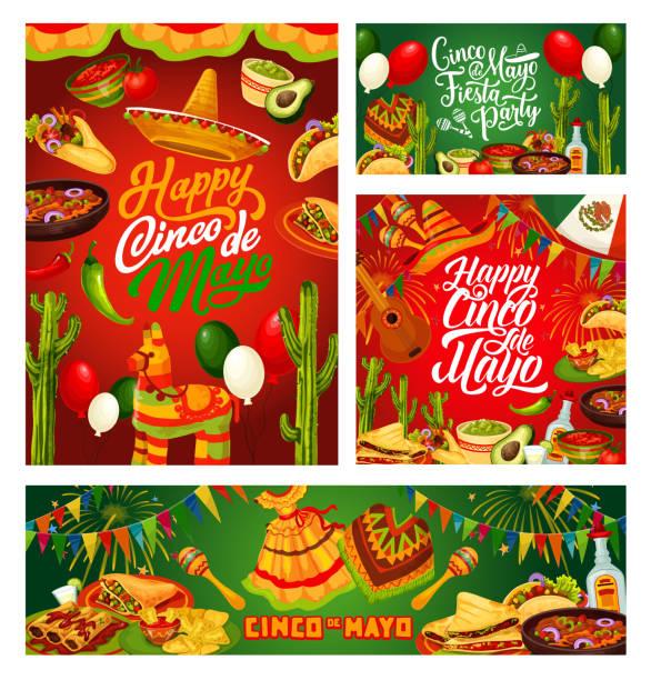 cinco de mayo fiesta, mexican holiday calligraphy - cinco de may stock illustrations, clip art, cartoons, & icons