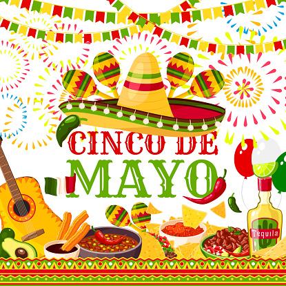 Cinco de Mayo fiesta Mexican vector greeting card
