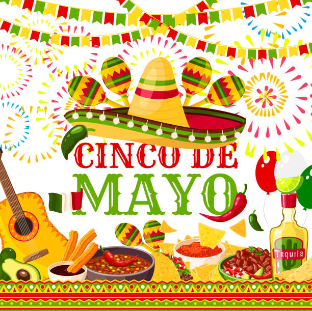 Cinco de Mayo fiesta Mexican vector greeting card Cinco de Mayo greeting card for Mexican holiday or fiesta party celebration of jalapeno pepper, sombrero and tequila or maracas. Vector traditional Cinco De Mayo holiday Mexican food and flag symbols cinco de mayo stock illustrations