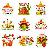 Cinco de Mayo fiesta party icon of mexican holiday. Festival sombrero hat, chili pepper and jalapeno, maracas, guitar and tequila, cactus, avocado guacamole and nachos, pinata and festival costume