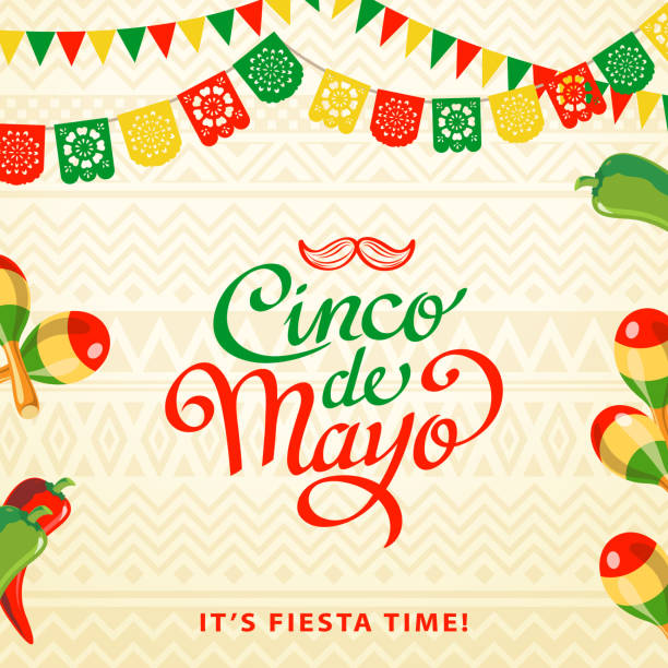 Cinco De Mayo Fiesta To Celebrate the Cinco De Mayo, the Mexican culture with parades, mariachi music and traditional food cinco de mayo stock illustrations