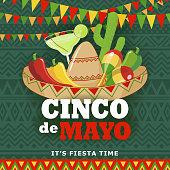 Celebrate Cinco De Mayo with banner, Mexican hat, drink, cactus, maracas, peppers on the green folk art pattern for the fiesta
