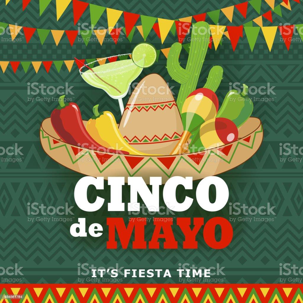 Cinco De Mayo Fiesta - ilustração de arte em vetor