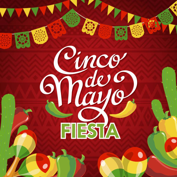Cinco De Mayo Fiesta Celebrate Cinco De Mayo with banner, cactus, maracas, peppers on the red folk art pattern for the fiesta cinco de mayo stock illustrations