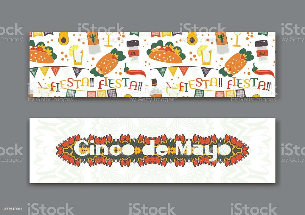 Cinco de Mayo fifth of May Day banners set. vector art illustration