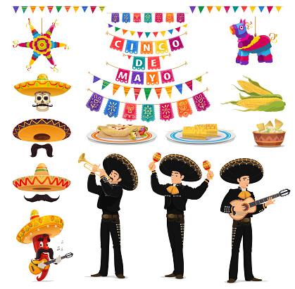 Cinco de Mayo food, musician, sombrero and pinata