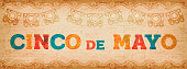 Happy Cinco de Mayo illustration with colorful fun typography quote and vintage texture. Traditional mexican holiday design ideal for web banner. EPS10 vector.
