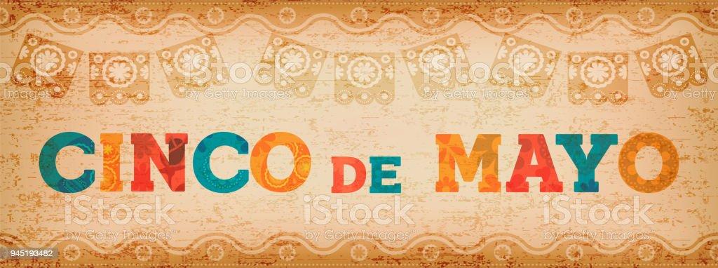Cinco De Mayo Spaß mexikanischen Typografie-Web-banner – Vektorgrafik