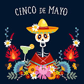 Cinco de Mayo greeting card, invitation with Mexican skeleton with sombrero hat drinking margarita cocktail, chili peppers and decorative folklore flowers. Ornamental floral frame pattern, flat design,.