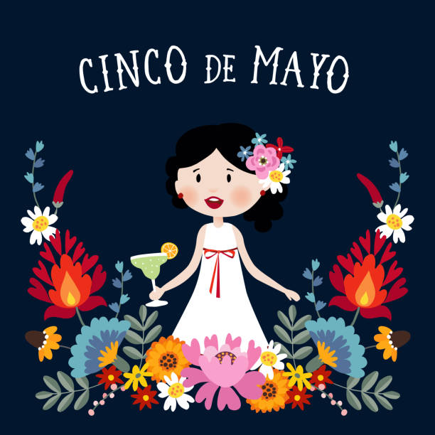 cinco de mayo greeting card, invitation with mexican woman drinking margarita cocktail, chili peppers and decorative folklore flowers. ornamental floral frame pattern, flat design, vector illustration background - cinco de may stock illustrations, clip art, cartoons, & icons