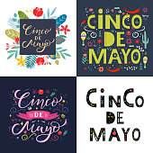 Cinco de mayo greeting card SET. Lettering text with flowers elements. Typography quote for invitation, poster, flyer. Vector illustration