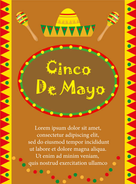 cinco de mayo greeting card, template for flyer, poster, invitation. mexican celebration with traditional symbols. vector illustration. - vertical stock illustrations, clip art, cartoons, & icons