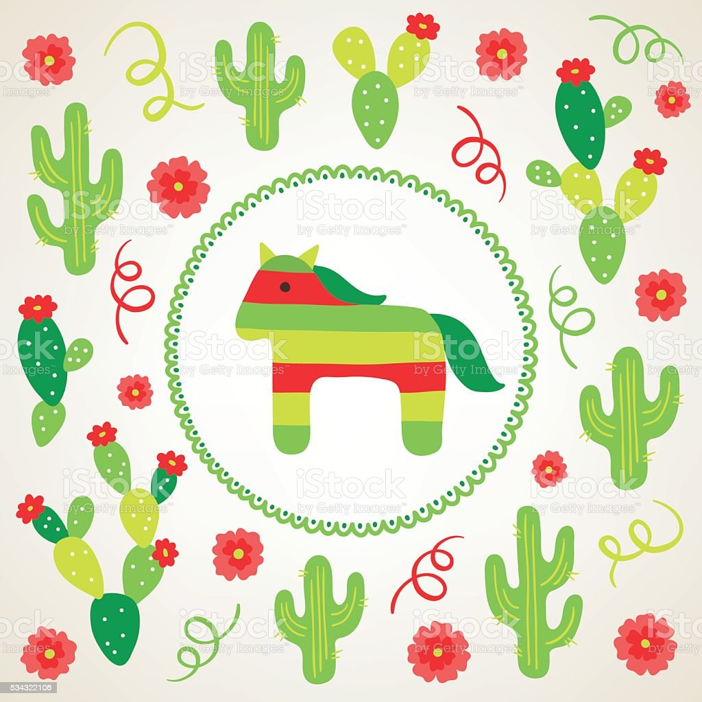 Cinco de mayo greeting card with cactus pinata flowers serpentine cinco de mayo greeting card with cactus pinata flowers serpentine royalty free m4hsunfo