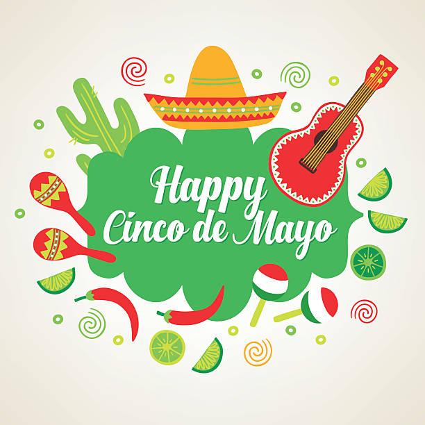 bildbanksillustrationer, clip art samt tecknat material och ikoner med cinco de mayo greeting card with guitar, cactus, sombrero - cactus lime