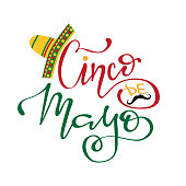 Cinco De Mayo hand drawn lettering design, vector illustration. perfect for advertising, poster, announcement, invitation, party, greeting card, fiesta, bar, restaurant, menu
