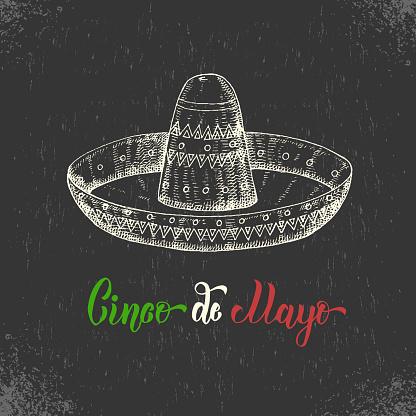 Cinco de Mayo hand made lettering with  mexican symbol - sombrero in sketch style. Vector vintage illustration on black.