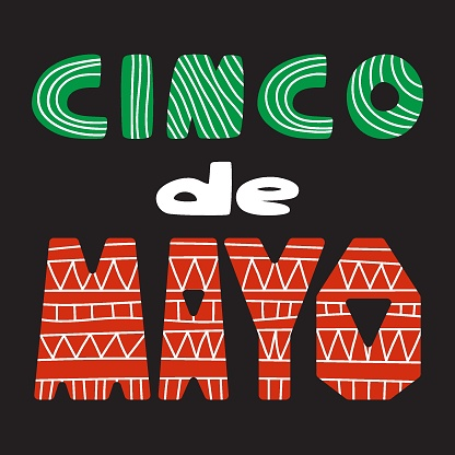 Cinco de Mayo hand-drawn lettering for traditional Mexican holiday stock vector illustration