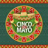 Celebrate Cinco De Mayo with tapestry, sombrero, and maracas on the folk art pattern for the fiesta