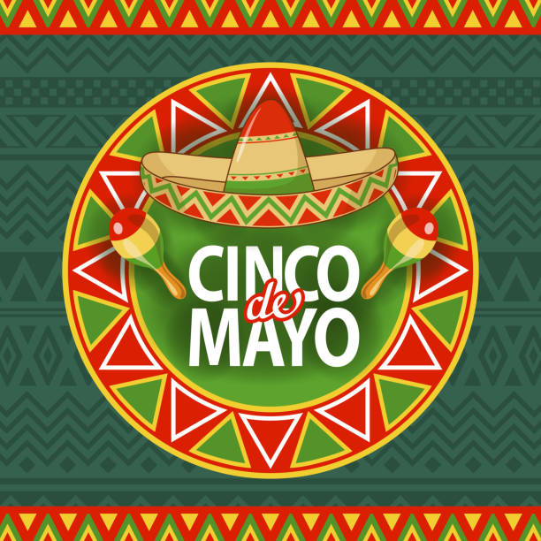 Cinco De Mayo Sombrero Celebration Celebrate Cinco De Mayo with tapestry, sombrero, and maracas on the folk art pattern for the fiesta cinco de mayo stock illustrations