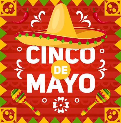 Cinco de Mayo holiday hat, maracas