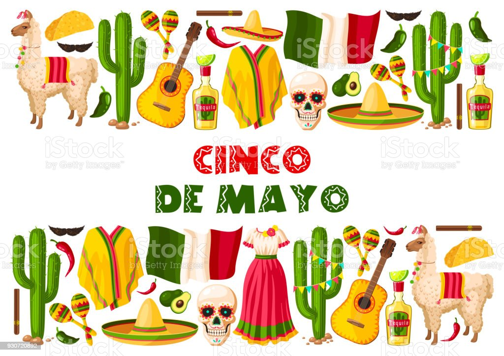 Cinco de Mayo holiday Mexican vector greeting card vector art illustration