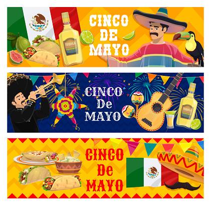 Cinco de Mayo holidays cartoon vector banners set