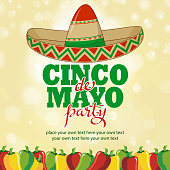 Mexican fiesta hottest party background included sombrero and jalapeno graphic elements.