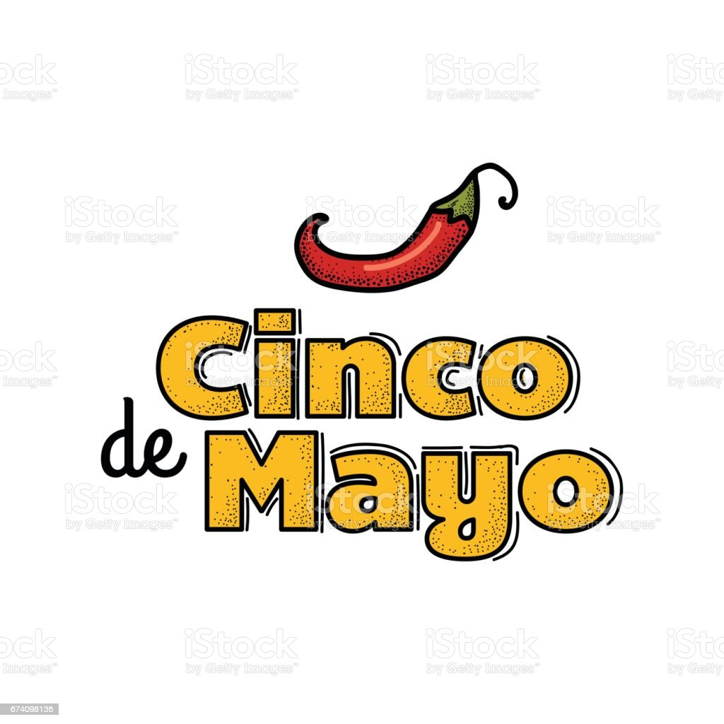 Cinco De Mayo icon. Hand drawn lettering and chili pepper. royalty-free cinco de mayo icon hand drawn lettering and chili pepper stock vector art & more images of black color