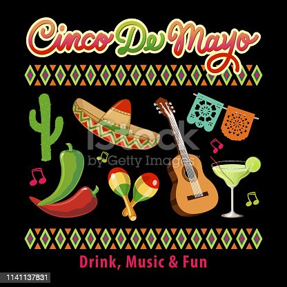 Celebrating Cinco De Mayo held on 5 May with icons of cactus, sombrero, chili pepper, maraca, acoustic guitar, papel picado banner, margarita and Mexican pattern