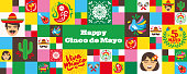 Banner design for the Cinco de Mayo holiday with related icons and symbols in a mosaic design. horizontal format.  Vector icon designs on Mexican culture.