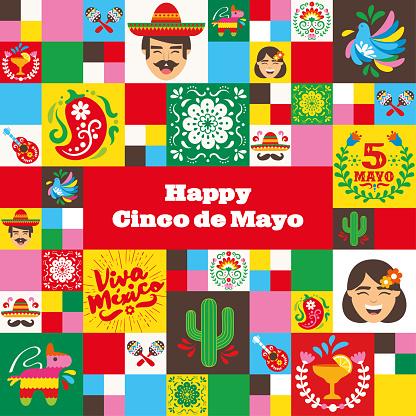 Cinco de Mayo icons mosaic square banner