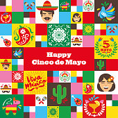 Banner design for the Cinco de Mayo holiday with related icons and symbols in a mosaic design. Square format.  Vector icon designs on Mexican culture.