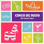 Cinco de mayo doddle icons and symbols, graphic elements included sombrero, margarita drink, jalapeno, donkey pinata, papel picado, cactus, guitar, maracas and mustache.
