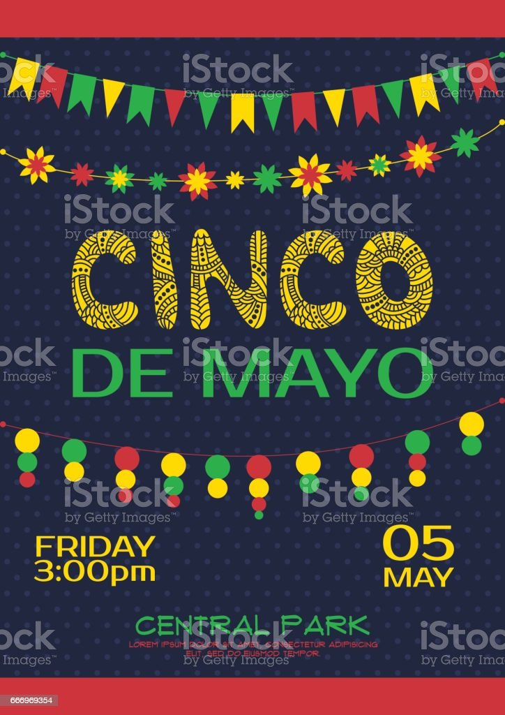cinco de mayo invitation poster mexican party stock vector art