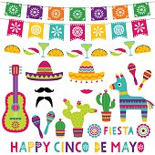 Cinco de Mayo isolated party decoration set