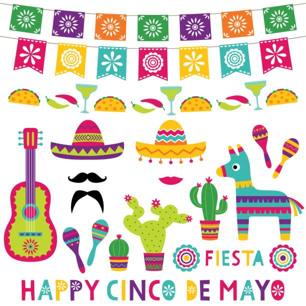 Cinco de Mayo isolated party decoration set Cinco de Mayo isolated party decoration set cinco de mayo stock illustrations