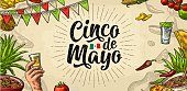 Cinco de Mayo lettering and mexican traditional food. Vector engraving